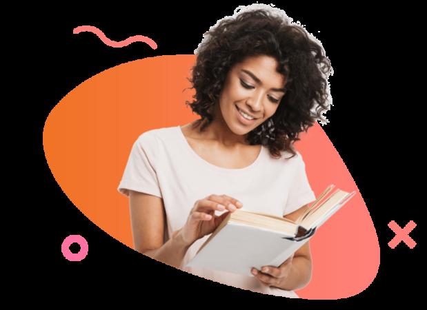 ללמוד אנגלית-רקע אישה קוראת ספר